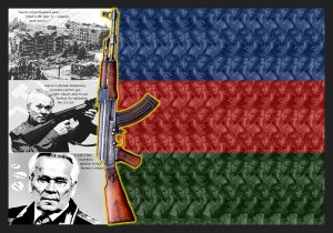 A photo collage of Mikhail Kalashnikov & child soldiers with an AK47